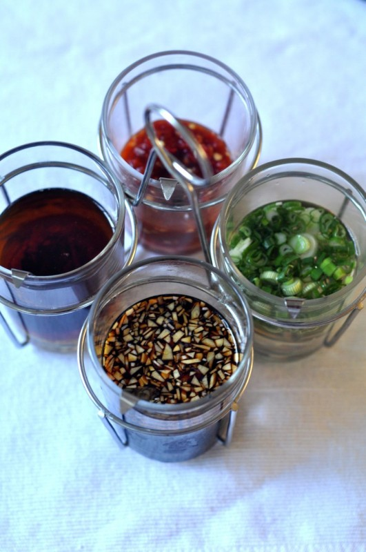 Soy sauce with garlic; sesame oil with ginger; rice vinegar with green onions; chili sambal.