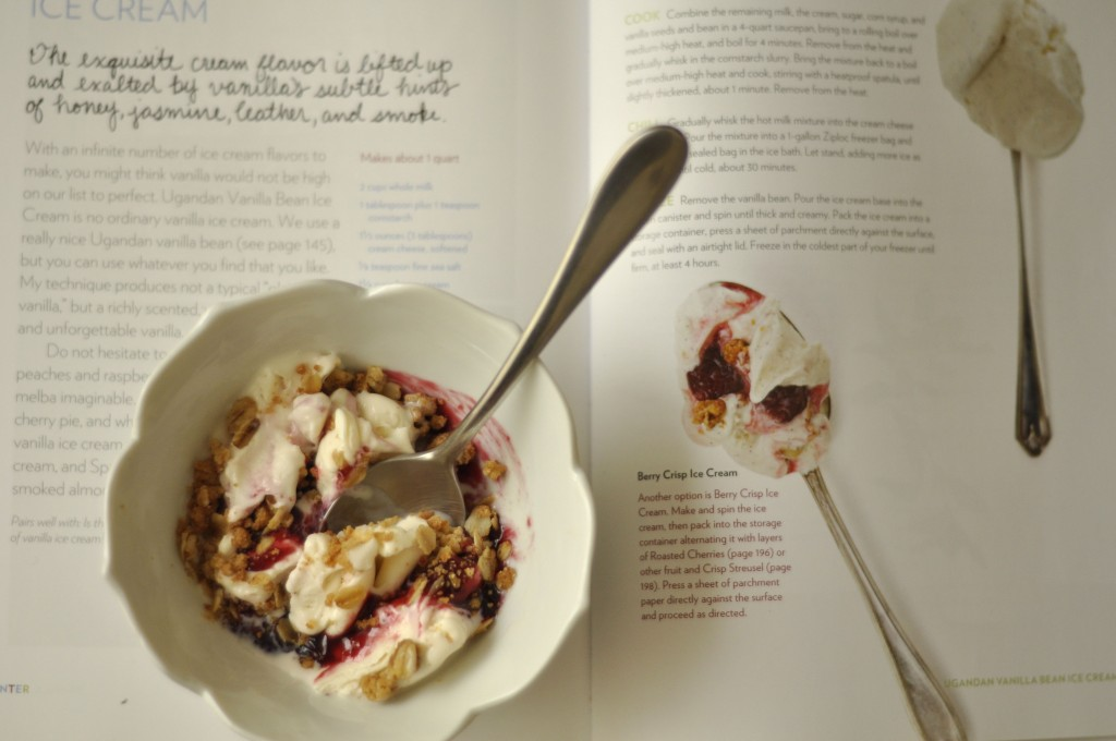 Anise-infused berry crisp ice cream.