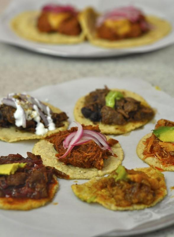 Sampler plate, top to bottom: Mole poblano, Steak Picado, Cochinitas Pibil, Tinga (chicken), Bistek en salsa rojo, Chicarron (half-eaten).