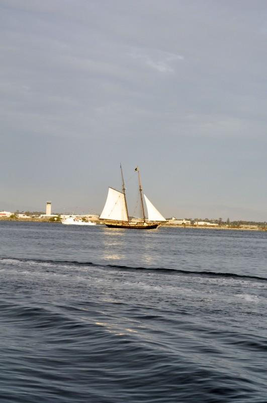 Shot of the Pilgrim leaving the harbor.