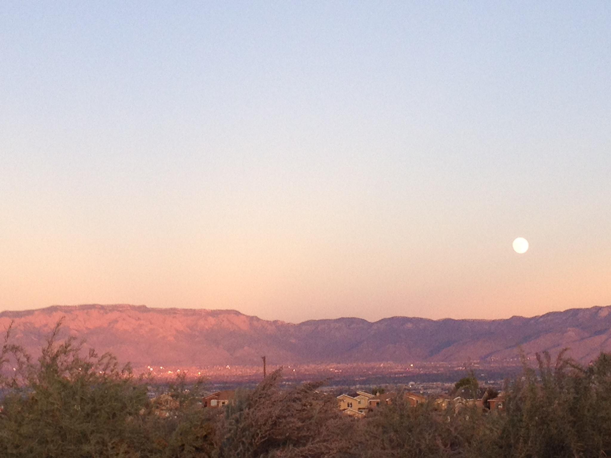 Moonrise over Albuquerque.