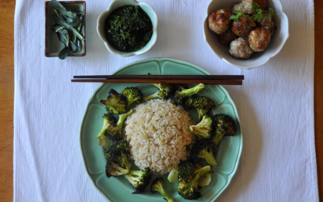 The complete medley: broccoli leaves; cilantro-jalapeno sauce; pork meatballs and roasted broccoli and rice.