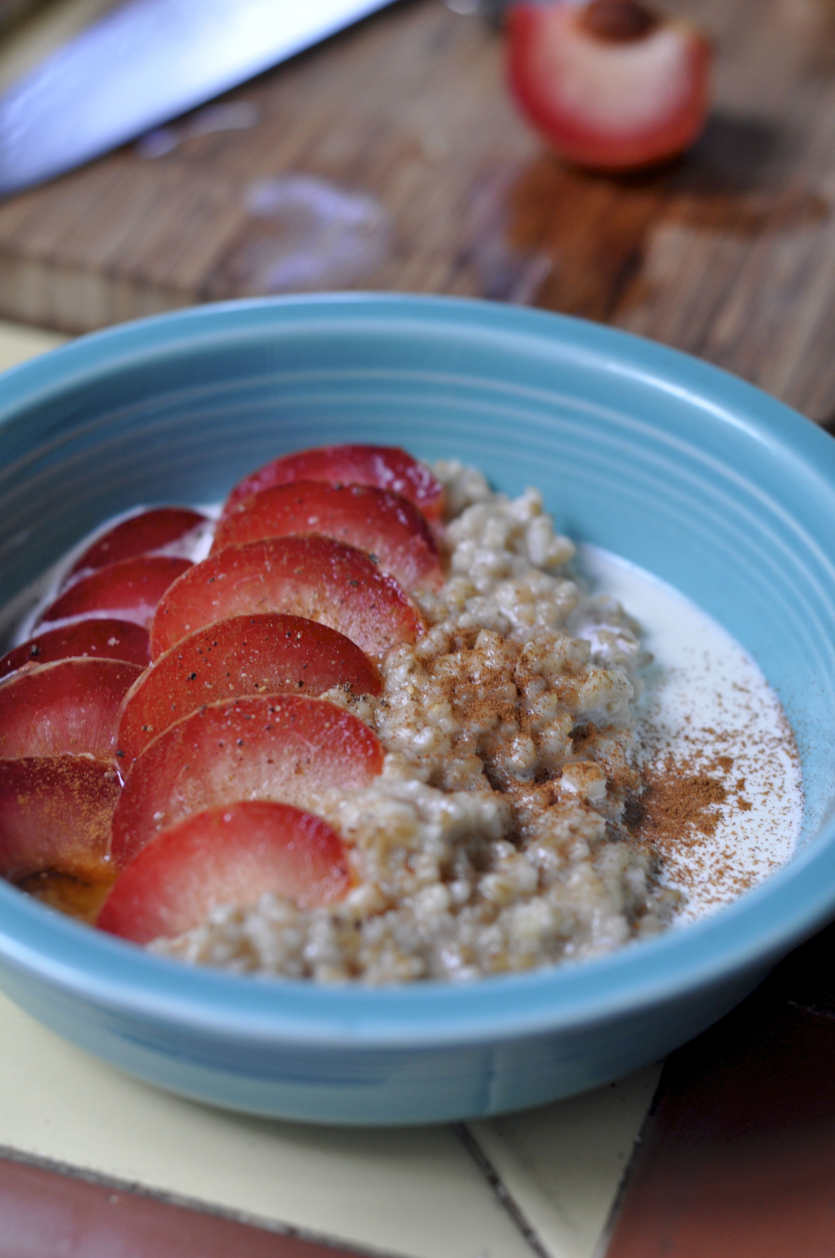 Baked oatmeal with ginger and pluots.