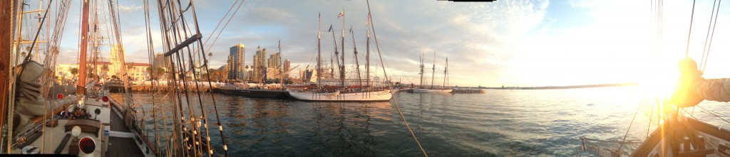 Panorama from my new boat, with the sun setting in the bowsprit, and two other tall ships.