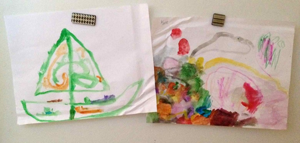 The other present in my package - drawings from my niece and nephew now decorate my fridge.