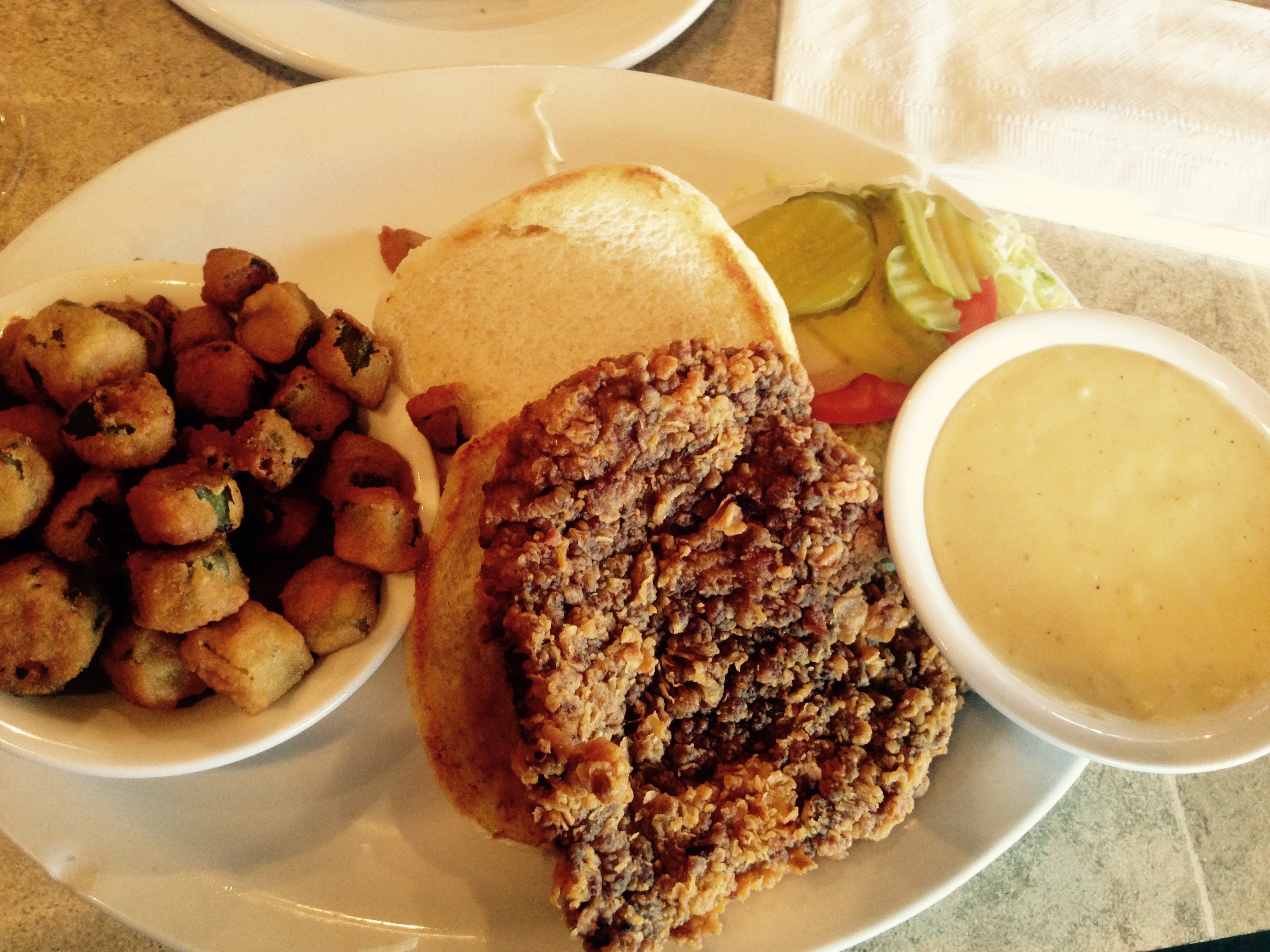 Chicken-fried steak and fried okra.